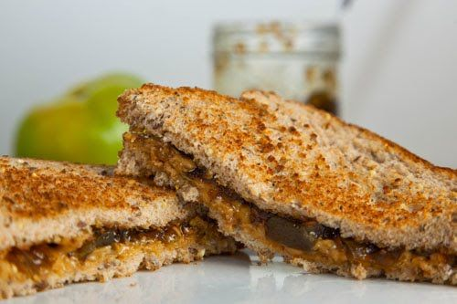 Peanut Butter and Green Tomato and Jalapeno Jam Sandwich- healthy protein!