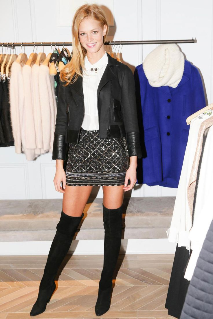 15 Anti-Party Looks For Cool Girls Only #refinery29   black over above the knee boot + black quilted mini skirt + black cropped moto blazer + white button up shirt