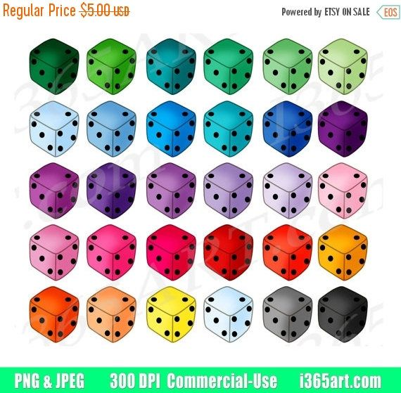 50% OFF Dice Clipart, Dice Clip Art, Board Games, Digital Dice Cubes, Casino, Gambling, Game Night, Planner Stickers, PNG, Commercial by I365art
