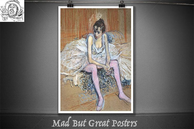Danseuse assise aux Bas de roses - Toulouse Lautrec - 1890, retro poster, french vintage, fine art prints, travel poster, fine art, painting by MadButGreatPosters on Etsy