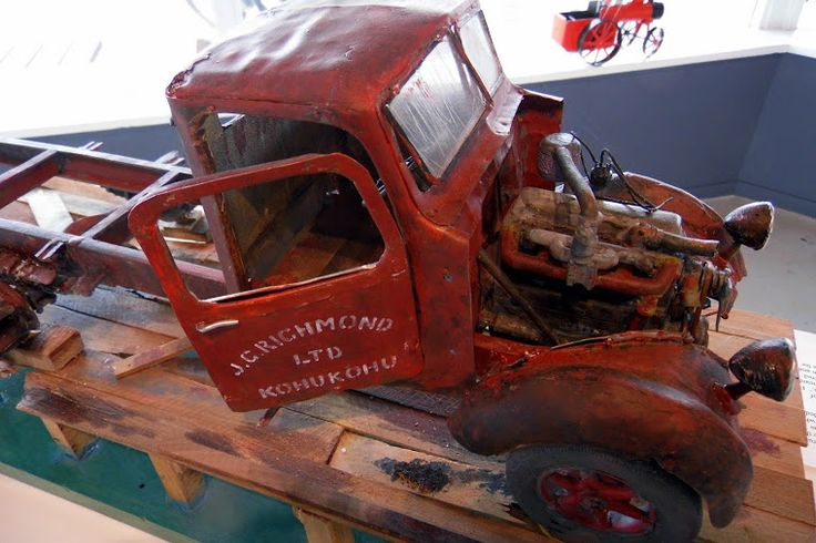Scaled model of old rusty truck in Kohukohu, NZ. Artist Malcolm Ford.