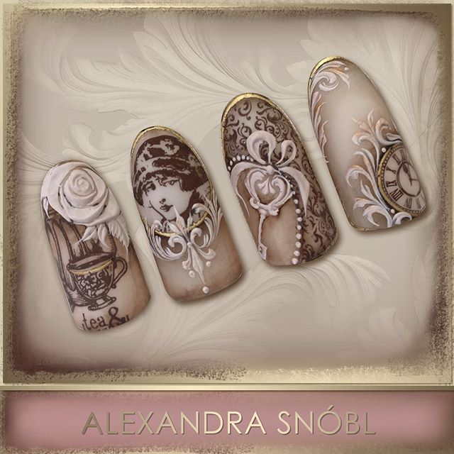 Nail design with Moyra Stamping plate No. 05 Vintage and No. 12 Faces…                                                                                                                                                                                 More