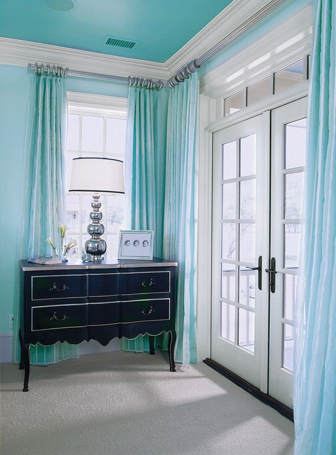 Love the darker turquoise ceiling and the silver curtain rods ~ House of Turquoise: Margaret Donaldson Interiors