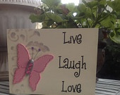"""Hand Painted Wooden White Inspirational Sign, """"Live Laugh Love"""" with Pink Butterfly: Sign Live, White Inspirational, Hands, Inspirational Sign, Wooden White, Pallet Signs"""