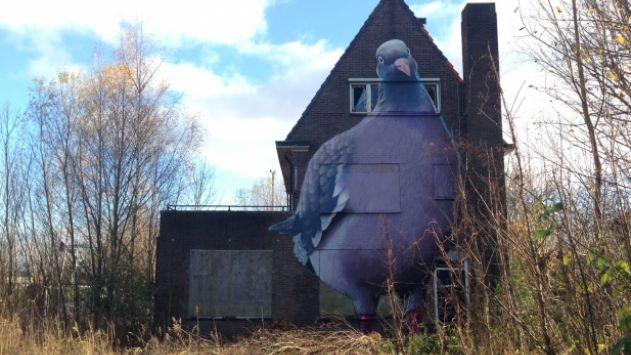 De graffiti-duif in Goes is het mooiste illegale kunstwerk van Nederland