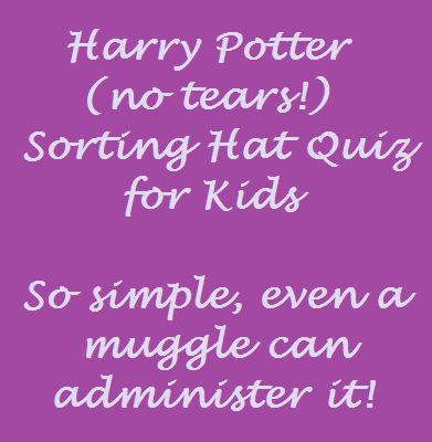 Sorting hat quiz that works for fans and non-fans alike.  Everyone is happy with their choice.  Great for Harry Potter Birthday parties.
