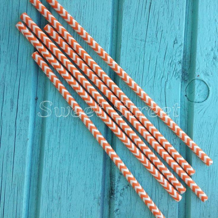 Трубочка для напитков бумажная Оранжевый шеврон, 6 шт