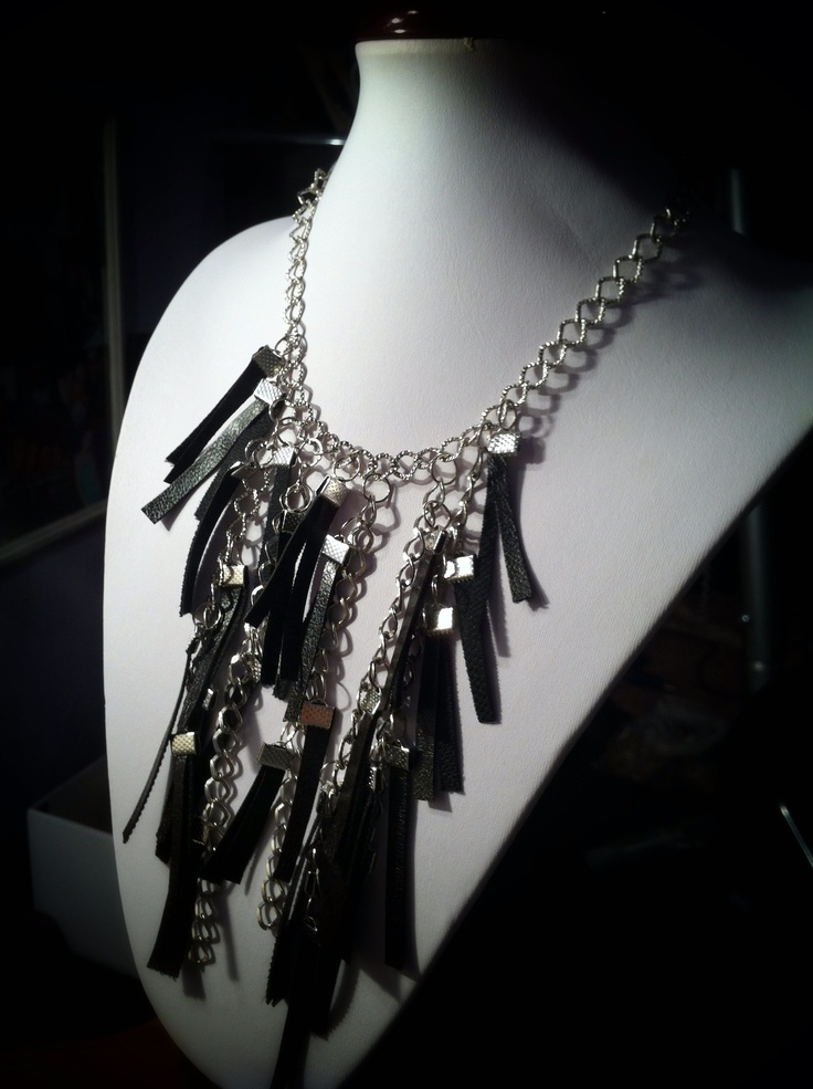 """Ecological leather necklace- from the """"Rock style"""" collection"""
