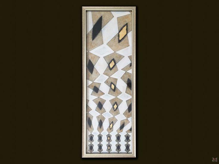 Μικτή τεχνική με γεωμετρικό μοτίβο από σινική μελάνη, πηλό και ψευδόχρυσο