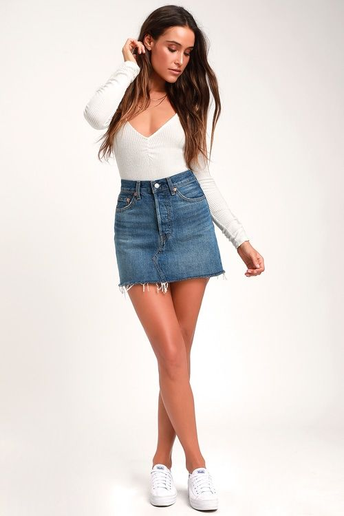 Lulus   Deconstructed Blue Denim Mini Skirt   Size 29   100% Cotton