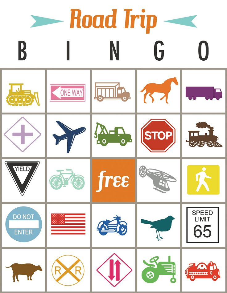 This is an image of Vibrant Road Trip Bingo Printables