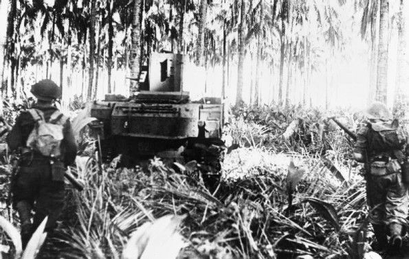 2nd January 1943: U.S. and Australian troops win a hard victory. The Campaign in New Guinea, December 1942 – 1943: Australian manned Stuart tanks of 2/6 Australian Armoured Regiment advance toward Buna.