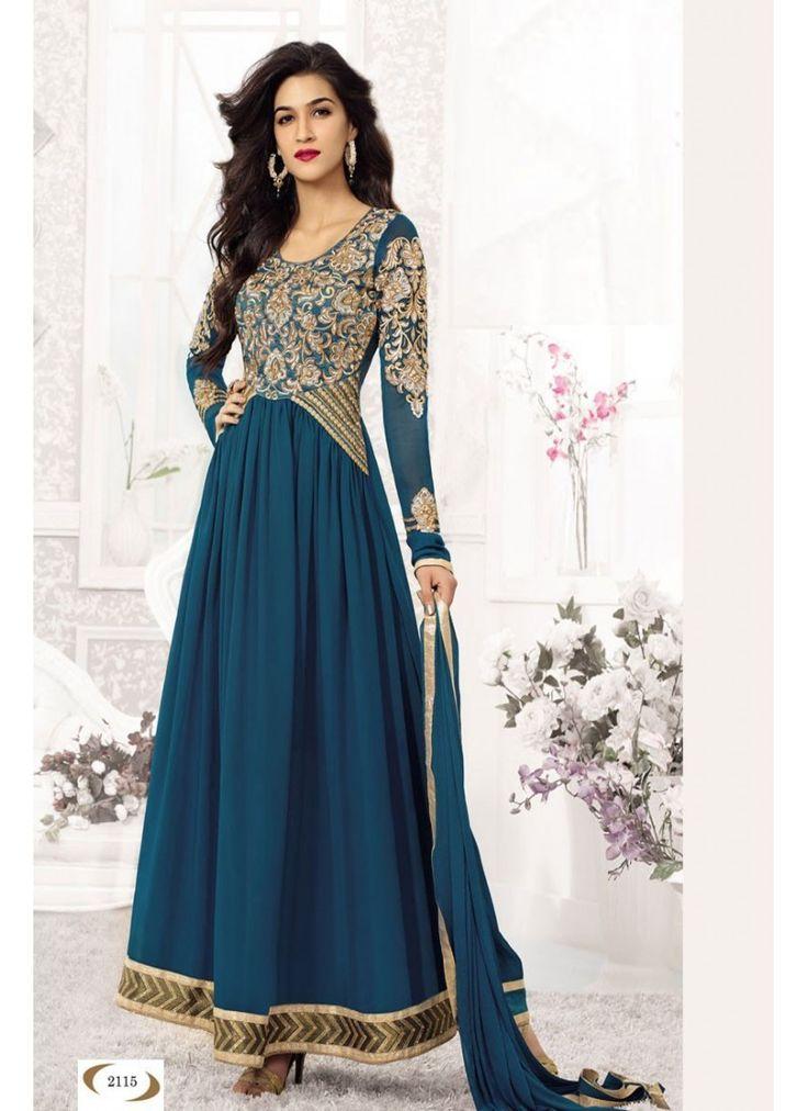 StyleFunia Cyan Heavy Designer Long Anarkali Suit