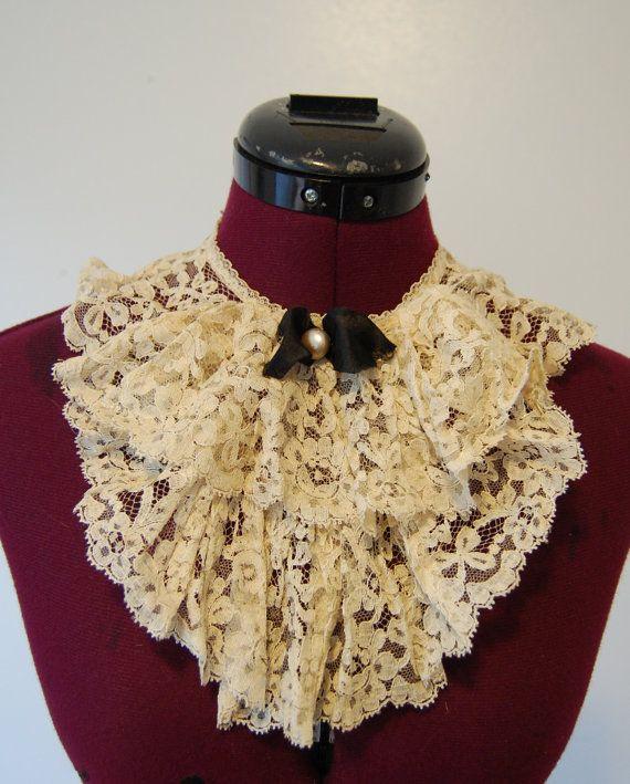 Victorian Steampunk Clothing   Vintage Victorian steampunk fashion lace collar by grumpyonprozac