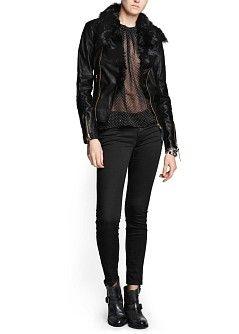 MANGO - Sale - Fur appliqués leather jacket