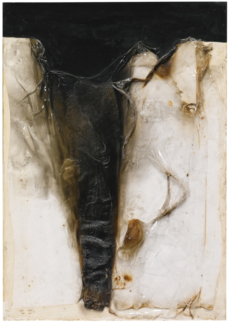 Alberto Burri 1915 - 1995 COMBUSTIONE CP 5 SIGNED , TITLED AND DATED 64 ON THE REVERSE, BURNED PLASTIC, ACRYLIC AND VINAVIL ON CELLOTEX 50 x 35 cm