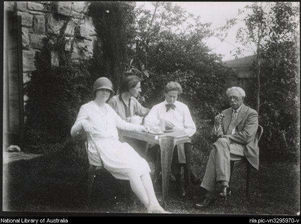 Cappy Deans, Marion Mahony Griffin, Walter Burley Griffin, and George Walter Griffin in the Griffin's garden at Castlecrag, New South Wales, ca. 1930