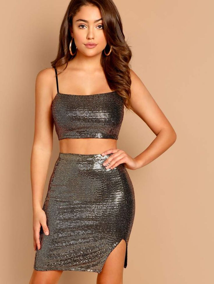 1bd96bf640599 Sequin Crop Cami Tube Top And Mini Skirt Set