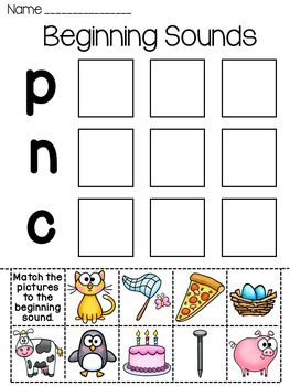 Beginning Sounds cut and paste fun! EIGHT different beginning sounds worksheets where students cut and paste the pictures in the boxes next to the letter/sound the word starts with. These are simple yet effective learning worksheets.