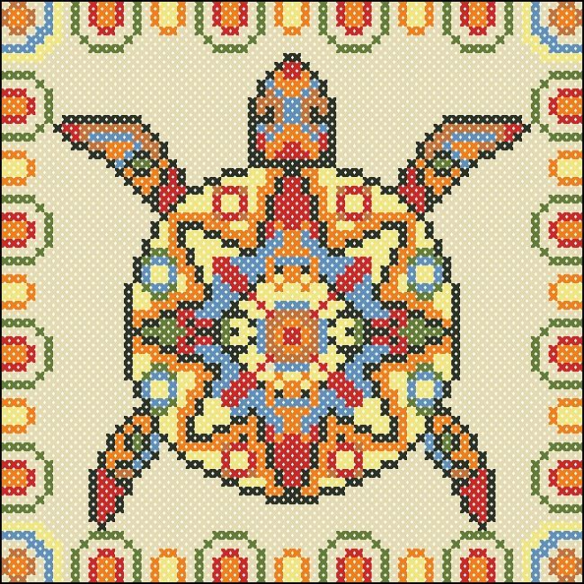 Mayan turtle cushion chart | Happy Stitch