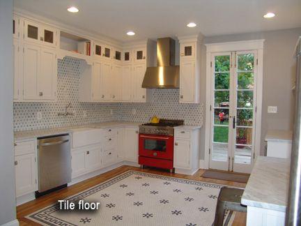 Black and white hexagon tile historic pattern renovation for 1920 kitchen floor tile