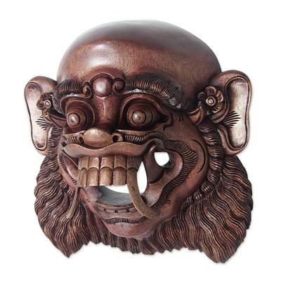 Wood mask, 'Demon Menace' by NOVICA