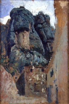 Mariano Fortuny y Marsal Houses and mountains in Montserrat Mariano Fortuny y Marsal    