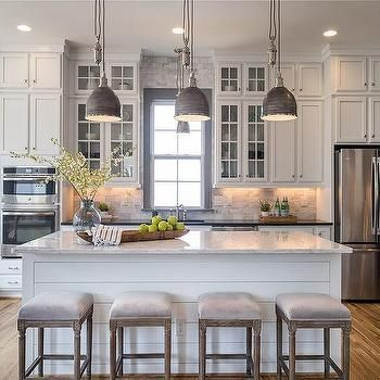 White And Gray Kitchen Design Featuring White Cabinets, Gray Window Trim  Molding, Gray Vintage Industrial Style Pendant Lights, A Large Light Gray  Granite ...