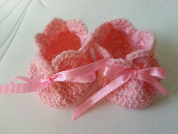 Crochet pink booties