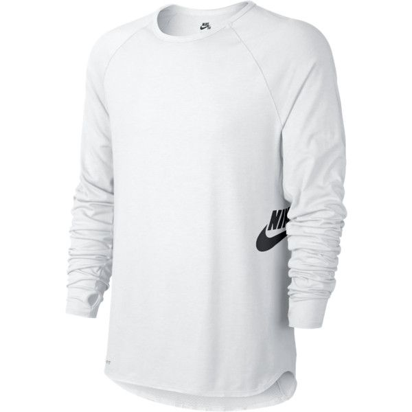 Nike SB Dri-FIT Touch Skyline Crew Men's Shirt ($55) ❤ liked on Polyvore featuring mens, men's clothing, men's shirts, guy clothes and white