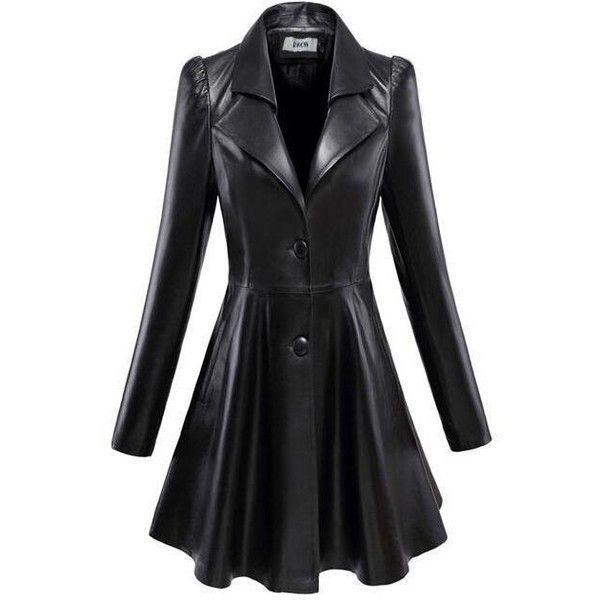 Womens Lady Blazer Lapel Collar Faux Leather Mid Long Coat Jacket... ❤ liked on Polyvore featuring outerwear, jackets, vegan leather jacket, long length coats, fake leather jacket, imitation leather jacket and faux-leather jackets