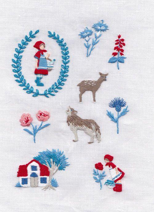 川畑杏奈 赤ずきんちゃん 刺繍 http://twutea.web.fc2.com/whatImade/made2014/made14.html #embroidery #刺繍 #川畑杏奈