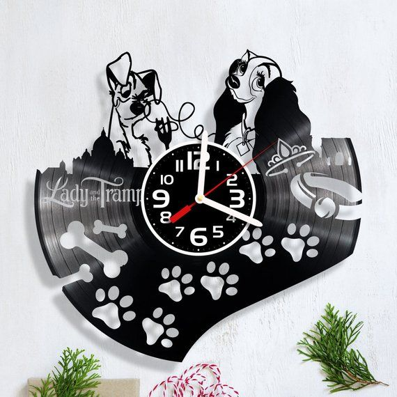 Owls FIgurines/_Exclusive wall clock made of vinyl record/_GIFT/_DECOR