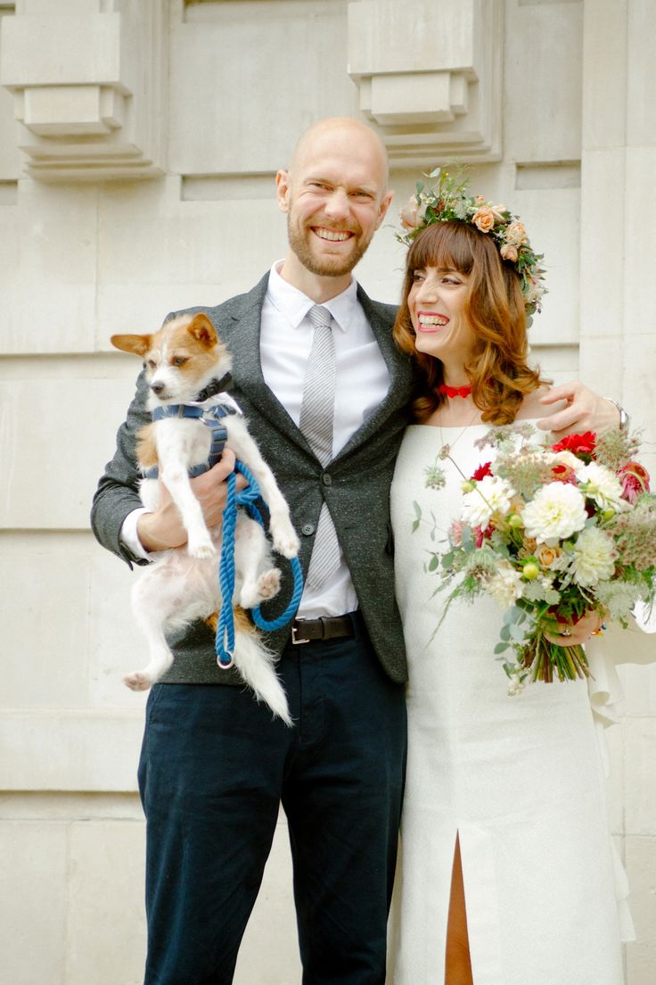 The couple included their pet dog in this Intimate London Wedding. Photography by Dan Dennison