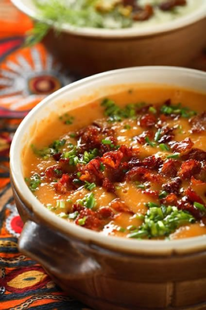 Creamy Sweet Potato Soup Recipe ~ Say: This exciting, richly flavored soup blends sweet potatoes with aromatic ingredients like lime, allspice, cayenne, ginger and parsley for maximum flavor, and the perfect balance of sweet and savory.