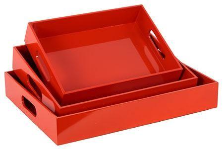 Wooden Tray - Set of Three Colour: Orange