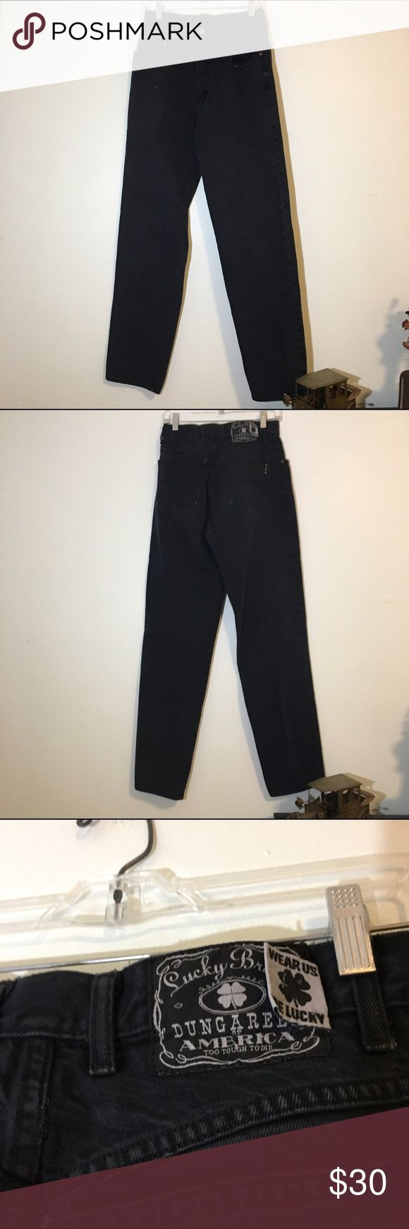 Vintage Black Lucky Brand Dungarees Jeans Interesting wear, black dungaree jeans from Lucky Brand. No wear, but the tag is slashed (as seen in photo). Size 30. Seems like bootcut. Lucky Brand Jeans Boot Cut
