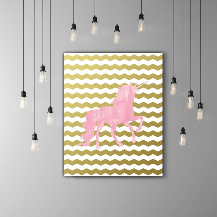 5.00$ - Pink Unicorn Nursery Printable, Little Girls Room Decor, Kids Room Print, Girl Nursery Print, Gold Chevron Nursery, Pink And Gold Room Decor