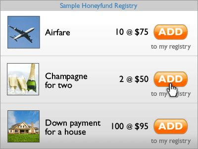 Honeyfund Registry. Wedding registry for honeymoon expenses or other savings goals, like purchasing a house.