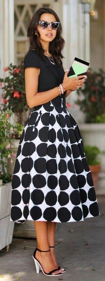 #street #style #blackandwhite #spring #inspiration | Polka Dot Midi Skirt | Vivaluxury                                                                             Source