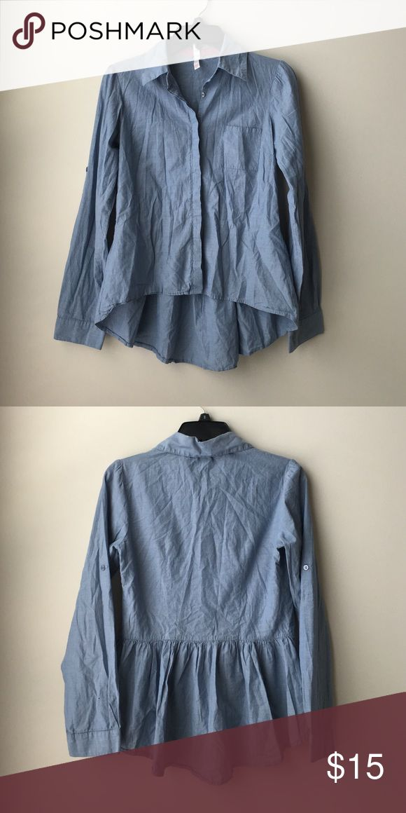 XHILIRATION light blue button up shirt Sz MED,l XHILIRATION light blue button up shirt Sz MED, small stain on sleeve as pictured in last picture Xhilaration Tops Button Down Shirts