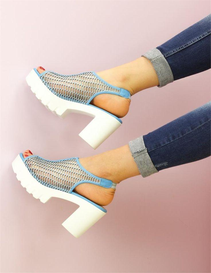 Fileli Buz Mavi Sandalet Günlük Ayakkabı   Ayakkabı   Modabenle