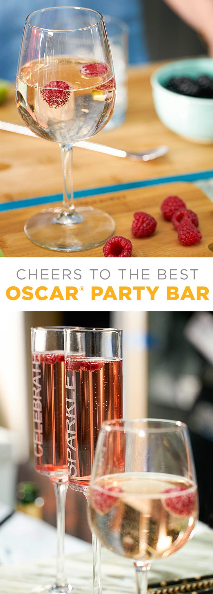Champagne is perfect on its own or used as a mixer on your Oscar party buffet bar. Set out different ingredients—fruits, liquors, seltzer, assorted types of champagne and anything else you think guests will like—and let your guests create their own signature cocktail. You might even consider presenting a golden statue to the person with the best original cocktail. #AllTheGoodStuff