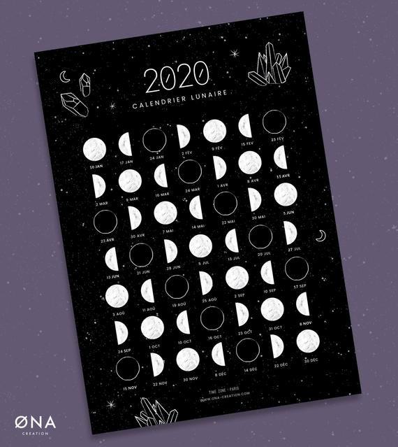 Moon Calendar 2020 French Lunar Phase A5 Card New Moon Full