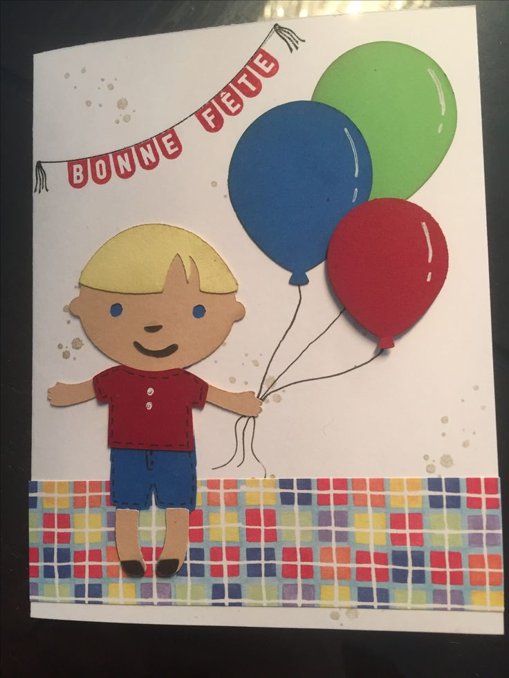 Carte faite avec la cartouche cricut playtime et le punch de ballons de stampin up. Pour Christopher 2 ans. Sonia Bourget 2017.