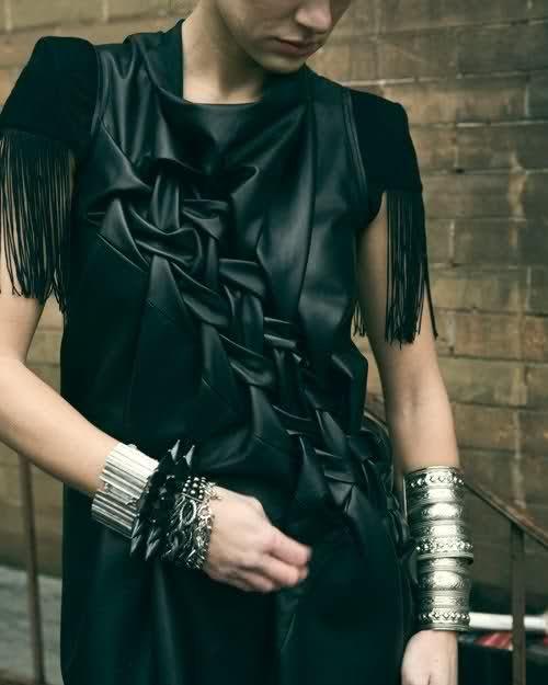 Lattice smocking on leather garment dress