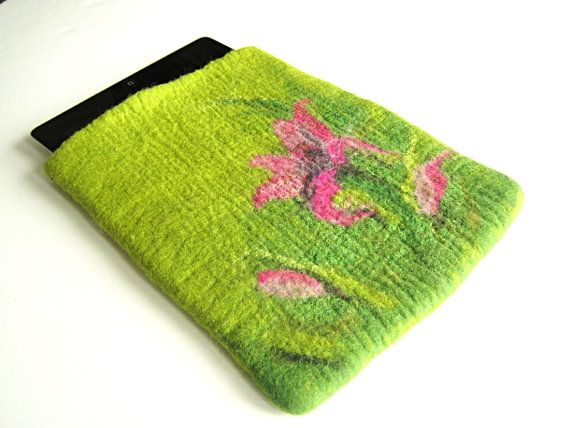Hand felted Tablet case iPad cover case green case by Dagneart, $38.00