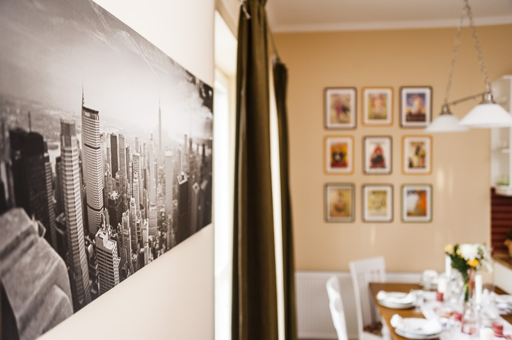 black and white New York picture vs retro food industrial posters