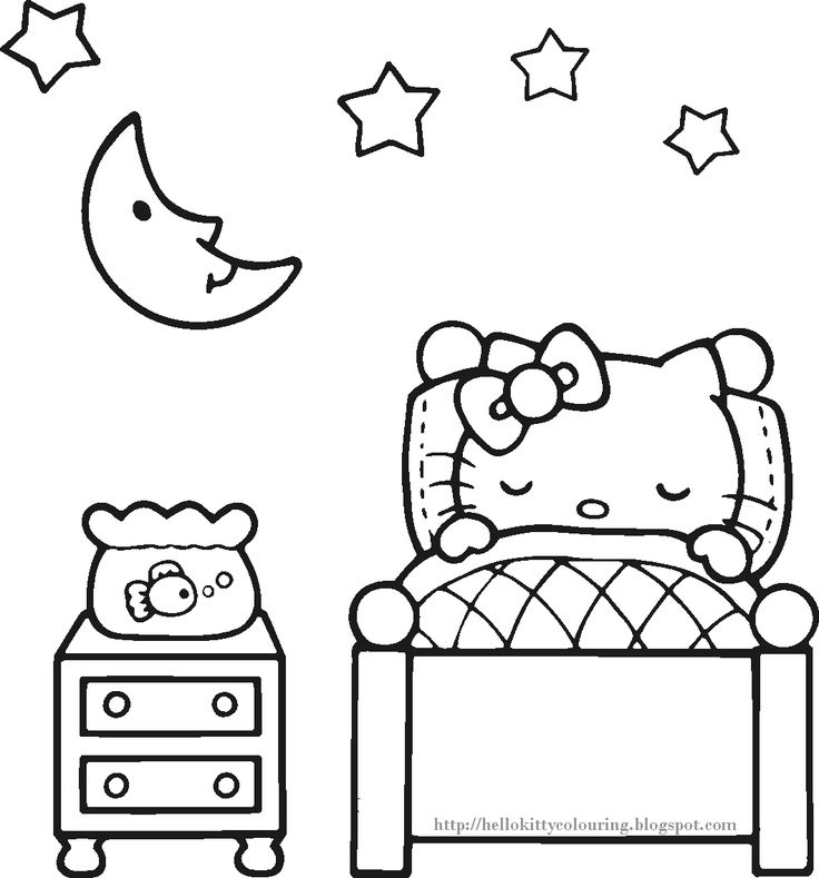 HELLO KITTY COLORING PAGE which would be a great activity for a sleepover...