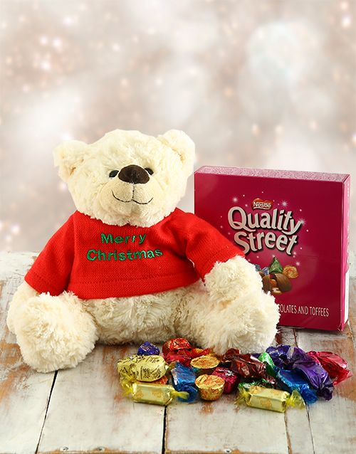 Buy Christmas Teddy with Quality Street Chocs Online - NetGifts